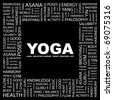 YOGA. Word collage on black background. Illustration with different association terms. - stock vector