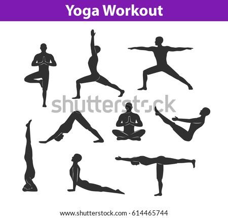 Yoga Workout Silhouettes Man Tree Sirsasana Stock Vector 614465744