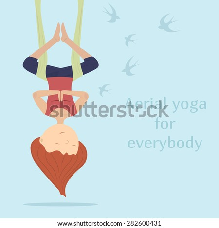 Yogi girl hanging in a hammock on a background of flying swallows. Blue background. Brown-haired person - stock vector