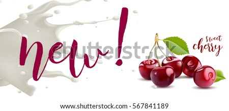 Yogurt Cherry concept. Realistic cherry vector illustration with milk splash.