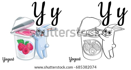 yogurt vector alphabet letter y coloring page