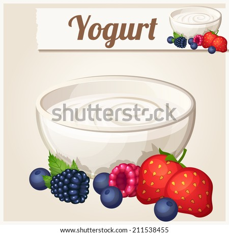 Yogurt with berries.  Detailed Vector Icon. Series of food and drink and ingredients for cooking. - stock vector
