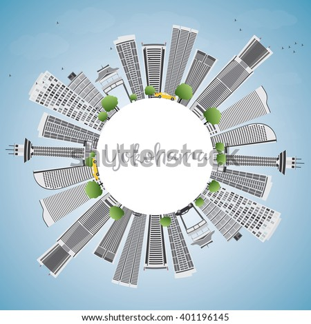 Yokohama Skyline with Gray Buildings, Blue Sky and Copy Space. Vector Illustration. Business and Tourism Concept with Modern Buildings. Image for Presentation, Banner, Placard or Web Site.