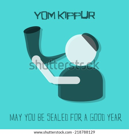 Yom Kippur greeting card. Man blowing horn on blue background. Vector illustration.  - stock vector