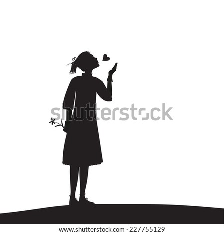 yong girl sent air kiss, i love you, first date, shadows,Valentines Day - stock vector