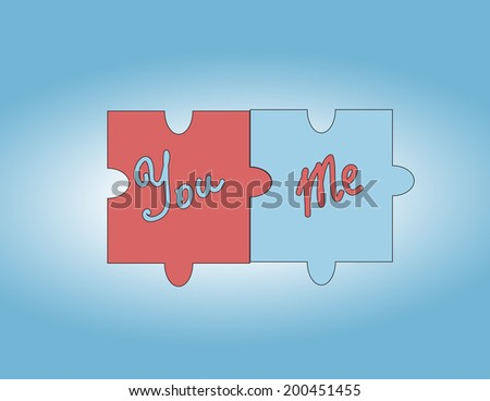 you and me puzzle illustration design over a white background - stock vector