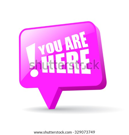 You are here map pointer isolated on white background - stock vector