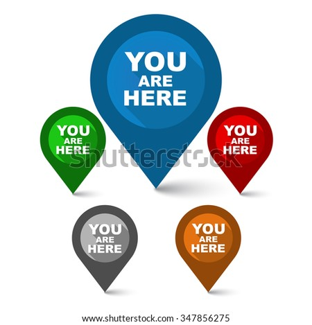 you are here, pointer you are here, map you are here, vector you are here, element you are here, sign you are here, design you are here, blue vector you are here, red vector you are here - stock vector