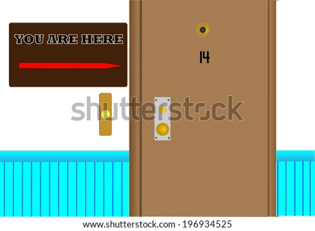 """YOU ARE HERE series/Illustrator 10 version of apartment hallway with section of door, blue wainscoting & sign with red arrow stating """"YOU ARE HERE"""" next to door. - stock vector"""
