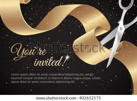 You invited invitation card curving ribbon stock vector 402652171 you are invited invitation card with curving ribbon and sparkling background grand opening concept stopboris Gallery