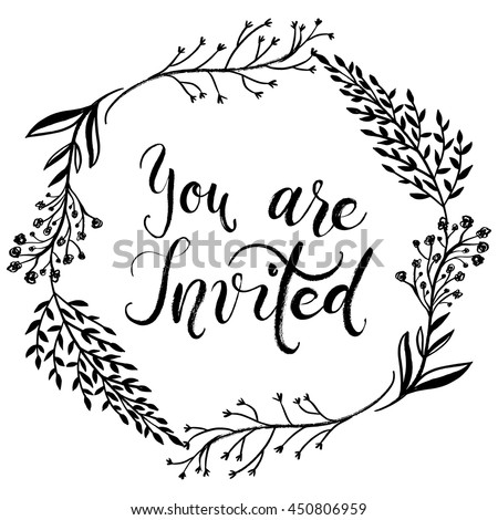 You are invited to the party, invitation card. Vector isolated hand drawn hand lettering with abstract background. Printable wedding template, modern brush pen calligraphy, cute words and phrases - stock vector