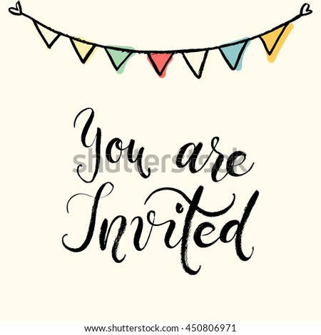 you are invited hand written calligraphy phrase with gold glitter