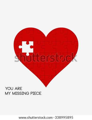 You Are My Missing Piece, Puzzle Heart, Valentine's Day Print, Minimalist Background, Vector Illustration, Home Decor  - stock vector
