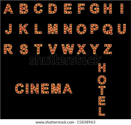 you can compose any word using neon alphabet - stock vector