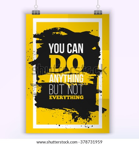 You can do Anything / Motivation Business Quote. Mock up Poster. Design Concept on paper with dark stain easy to edit. A4 format - stock vector