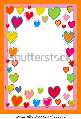 You can use this border with hearts as a background for letters, mail, invitations, giftcards or as a picture-frame. - stock vector