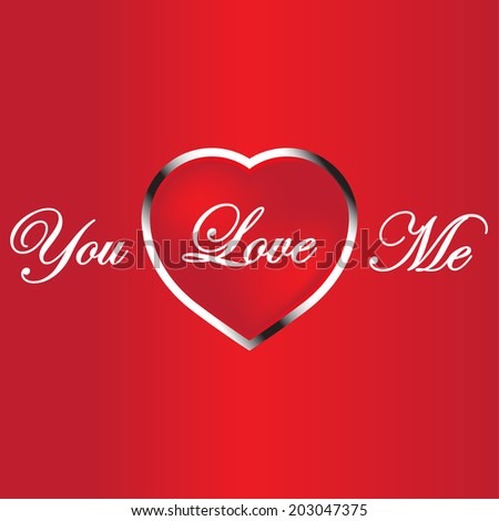 You love me wording on bright red heart background