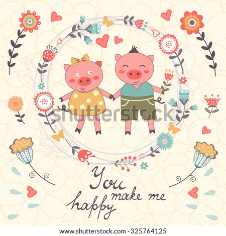 You make me happy romantic card with cute pigs couple. vector illustration - stock vector