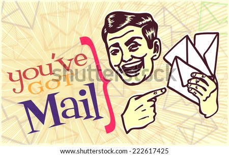 You've got mail! retro vintage clipart: retro looking mailman holding post letters and smiling - stock vector