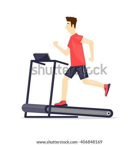Young adult man running on treadmill, sport, fitness, athletics, healthy lifestyle. Cartoon. Vector illustration flat design. - stock vector