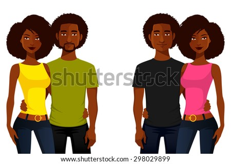 young African American people in casual clothes - stock vector