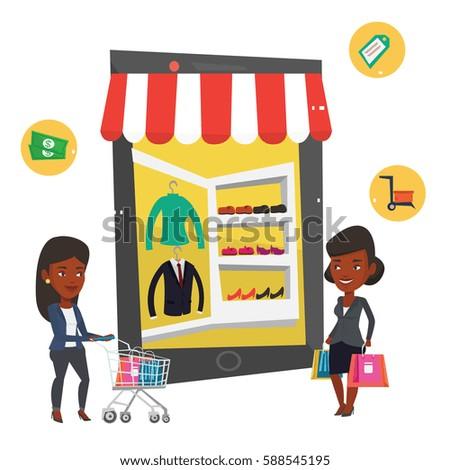 african woman shopping stock vectors images vector art shutterstock. Black Bedroom Furniture Sets. Home Design Ideas