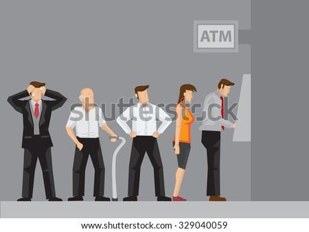 Young and old people waiting in line to draw money from self-service Automated Teller Machine. Cartoon vector illustration. - stock vector