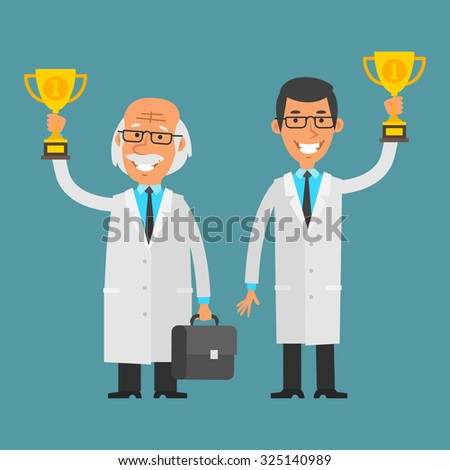 Young and old scientist holding cup - stock vector