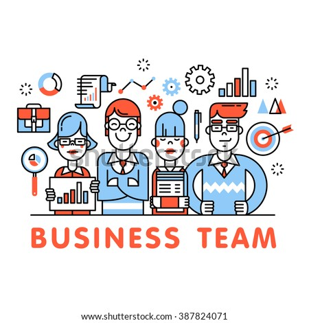 Young and successful business team standing tall. Development, sales, marketing and management executives. Thin line art flat illustration with icons. - stock vector