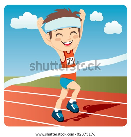 Young athlete man winning Olympic games sprint race competition - stock vector