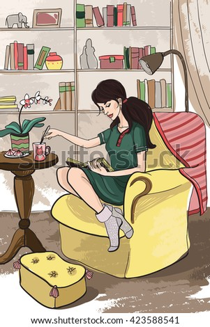 Young attractive beautiful long-haired tall girl in a dress woman housewife resting, reading a book, drinking tea, sitting in comfortable and well-furnished home library, sitting on the soft big chair - stock vector