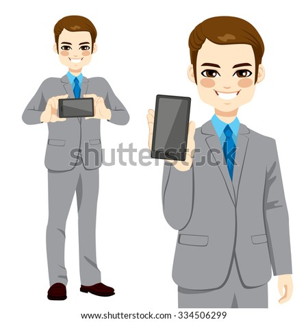 Young attractive businessman displaying smartphone on horizontal and vertical position - stock vector
