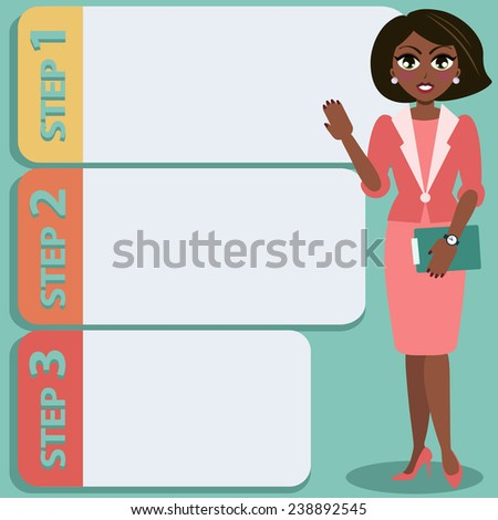 Young attractive businesswoman gives presentation - stock vector