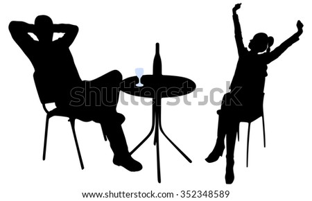 Young attractive couple enjoying together in a restaurant - stock vector