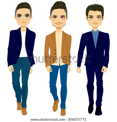 Young attractive fashion men walking with elegant clothing style - stock vector