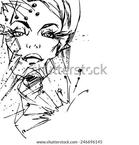 Young attractive fashion model, vector - stock vector