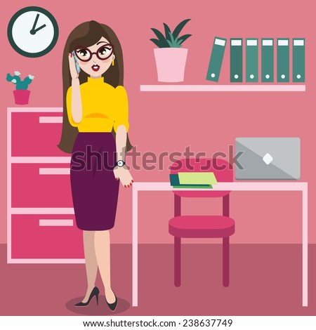 Young attractive fashionable successful business woman in calling in the office