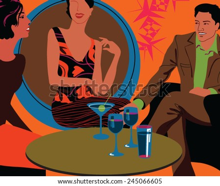 Young attractive people of three  having cocktail party - stock vector