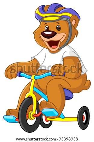 Young bear on tricycles