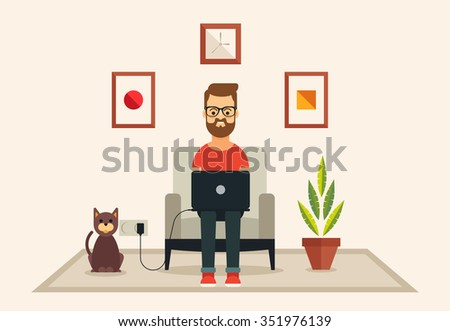 Young Bearded Man with Laptop Sitting on the Soft Chair. Flat Vector Illustration - stock vector