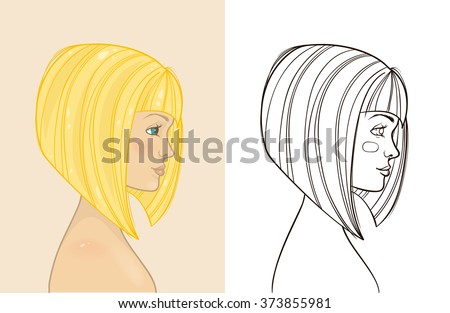 Young beautiful blonde girl with bob haircut. Hand drawing profile silhouette. Vector illustration. - stock vector