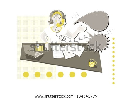 young beautiful caucasian type woman in her office answering phone call on little yellow dots with blank talk bubbles with place for your text cartoon illustration on white background - stock vector