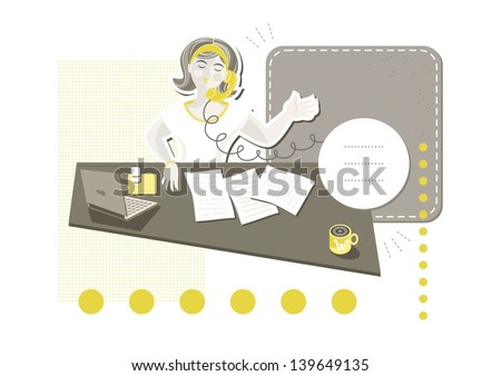 young beautiful caucasian type woman in her office answering phone call on little yellow dots with blank frames with place for your text cartoon illustration on white background - stock vector