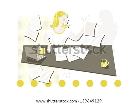 young beautiful caucasian type woman in her office doing paperwork with important document she looked for cartoon illustration on white background - stock vector