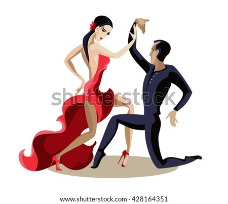 Young beautiful couple takes a romantic Latin dance - stock vector