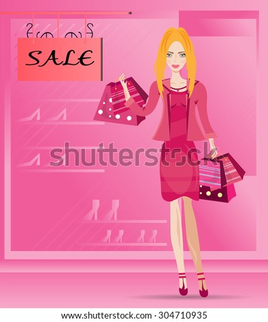 Young, beautiful, isolated, woman standing before shop, store with shop window, lady with long, blond hair in summer, pink dress, jacket, many shopping bags with dots and stripes - stock vector