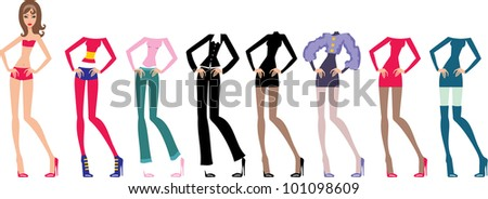 Young beautiful paper dolls with clothes set. vector - stock vector