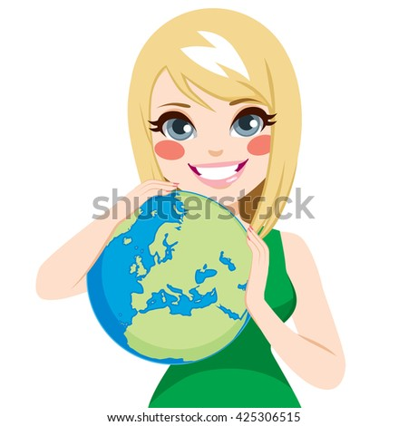 Young beautiful teenager girl hugging world loving earth ecology concept - stock vector
