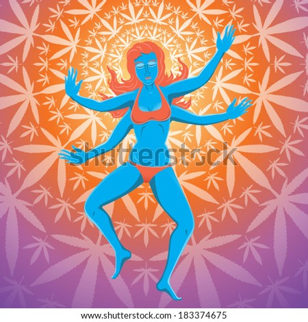 Young beautiful woman dances and waves her four arms vector illustration