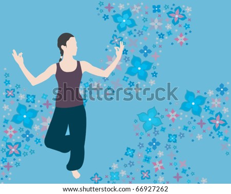Young beautiful woman meditating - stock vector